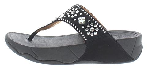 FitFlop dames teenslipper, model Lulu Aztec met studs, zwart nubuckleer, vast voetbed dat heerlijke steun geeft en toch zacht is. Hakhoogte 30 mm. Ideaal bij een verstijfde grote teen, hielspoor of morton's neuralgie.