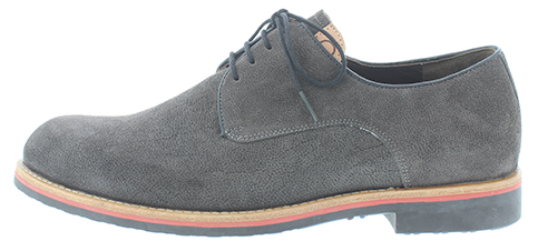 Gijs heren veterschoen, grijs nubuckleer, wijdte K voor de brede voet, uitneembaar voetbed. Hakhoogte 12 mm.