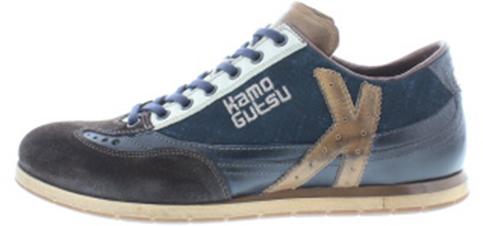 Kamo Gutsu heren sneakers / veterschoen, kombi bruin leer, geschikt voor de normale voet, uitneembaar voetbed. Hakhoogte 1 cm.