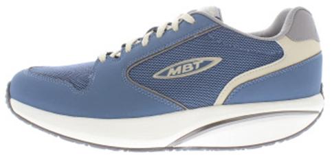 MBT heren veterschoenen, model MBT 1997 M, kombi blauw nubuckleer en mesh, uitneembare binnenzool, geschikt voor de normale tot brede voet. Performance afrolzool (level 3) met de meeste instabiliteit. Uitermate geschikt als je veel gaat lopen (bijvoorbeeld 4-daagse) omdat het lopen als vanzelf lijkt te gaan. Door het mesh materiaal hou je frisse voeten, omdat het materiaal luchtdoorlatend is.
