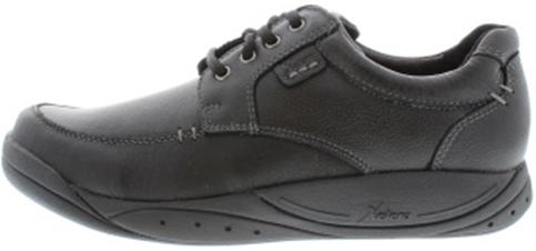 Xelero veterschoenen, model London Deluxe, verstijfde loopzool voor betere afwikkeling, zwart glad leer, wijdt: D (medium), uitneembare binnenzool