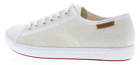 Birkenstock Sneakers Veterschoenen Kleur: wit Uitgevoerd in canvas Met witte rubberen loopzool Met verwisselbaar Birkenstock-inlegzool Geschikt voor de smalle tot normale voet
